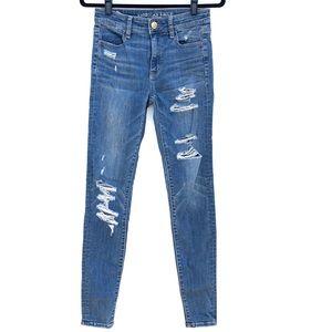 AMERICAN EAGLE hi rise distressed skinny jean I1